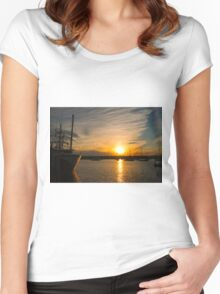 Town Dock Sunset Women's Fitted Scoop T-Shirt
