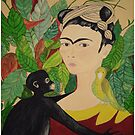 Frida with Monkey and Bird Pillow and Tote Bag by Shulie1