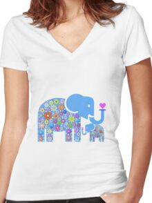 Mum & Baby Elephant  Women's Fitted V-Neck T-Shirt