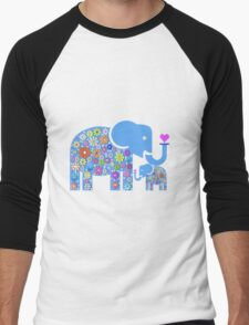 Mum & Baby Elephant  Men's Baseball ¾ T-Shirt