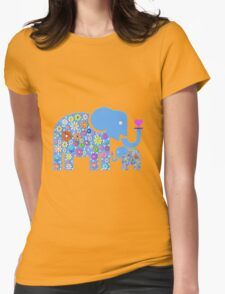 Mum & Baby Elephant  Womens Fitted T-Shirt