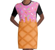 Strawberry Ice Cream Graphic T-Shirt Dress