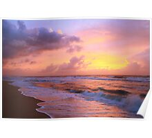 Sunrise Clouds over Atlantic Surf, Cape Hatteras National Seashore Poster