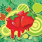 Cool Strawberry Graffiti Street Art by Silvia Neto