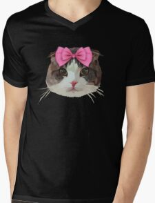 Pink Bow Cat Mens V-Neck T-Shirt