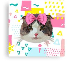 Pink Bow Cat Canvas Print