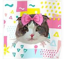 Pink Bow Cat Poster