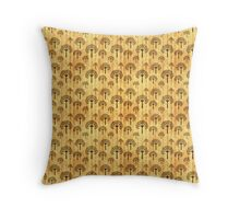 Black Trees Pattern on Vintage Yellowed Paper Throw Pillow