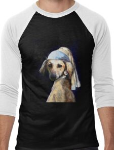 The Pooch with the Pearl Earring Men's Baseball ¾ T-Shirt