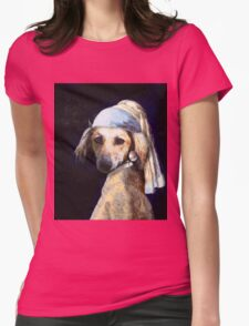 The Pooch with the Pearl Earring Womens Fitted T-Shirt
