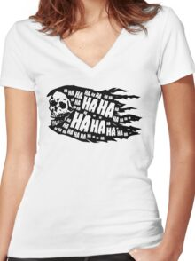 Laughing Death. Women's Fitted V-Neck T-Shirt