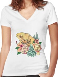 Pastel Bearded Dragon Women's Fitted V-Neck T-Shirt