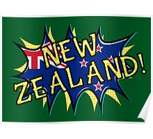 New Zealand flag comic style star  Poster
