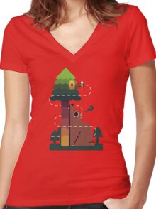 Bears and the Bees Women's Fitted V-Neck T-Shirt