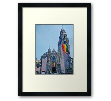 LGBTQ Gay Rainbow Flag flying Framed Print
