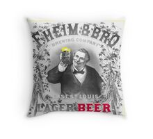 Vintage Lager Beer Ad Throw Pillow