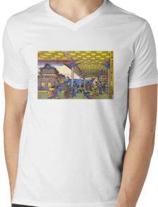 'Scene in Blue' by Katsushika Hokusai (Reproduction) Mens V-Neck T-Shirt