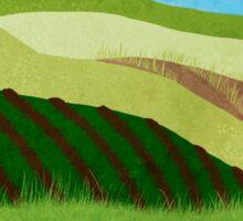Fields And Farms Under A Summer Sky Sticker