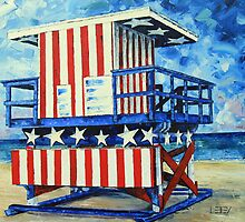 Red, white and beach by Lisa Elley by lisaelley