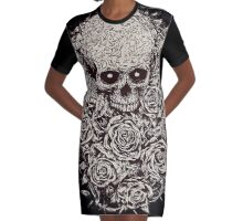 Skull & Roses Graphic T-Shirt Dress