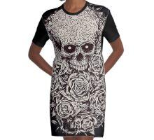 Skull & Roses Graphic T-Shirt Dress