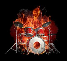 Flaming Skeleton on Drums by pjwuebker