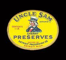 Vintage Label Uncle Sams Cherry Preserves by pjwuebker