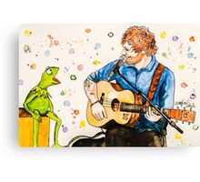 Ed Sheeran and Kermit the Frog Color Splash  Canvas Print