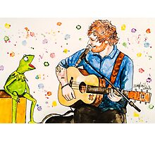 Ed Sheeran and Kermit the Frog Color Splash  Photographic Print
