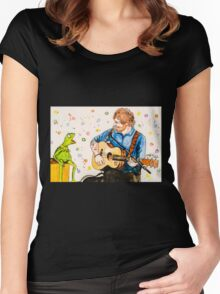 Ed Sheeran and Kermit the Frog Color Splash  Women's Fitted Scoop T-Shirt