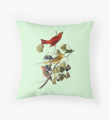 Vintage Bird Art Tanagers Throw Pillow