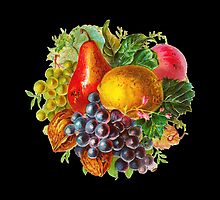 Vintage Painting of Fruit and Nuts by pjwuebker
