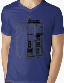 Tardis Word Art Mens V-Neck T-Shirt