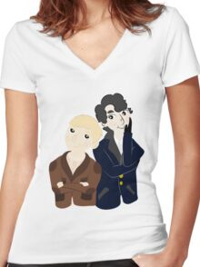 John and Sherlock  Women's Fitted V-Neck T-Shirt