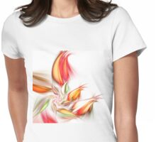 Orange Flower - Abstract Fractal Artwork Womens Fitted T-Shirt