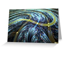 Blue Spiral - Abstract Fractal Artwork Greeting Card
