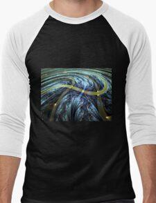 Blue Spiral - Abstract Fractal Artwork Men's Baseball ¾ T-Shirt