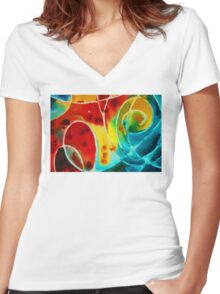 Pure Joy 1 - Abstract Art By Sharon Cummings Women's Fitted V-Neck T-Shirt