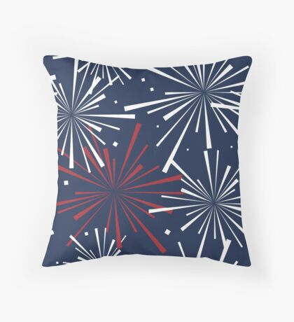 Fourth of July Fireworks Pattern Throw Pillow