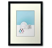 Pastel Penguins and Igloo Framed Print