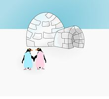 Pastel Penguins and Igloo by piedaydesigns