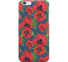 Bright Red Oriental Poppies Floral Pattern Blue iPhone Case/Skin