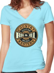 Country Western Rock&roll Women's Fitted V-Neck T-Shirt