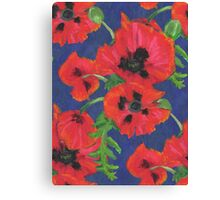 Bright Red Oriental Poppies Floral Pattern Blue Canvas Print