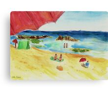 Monday at The Beach - Watercolor Canvas Print