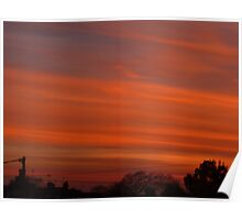 Stripy Orange Sunset Poster