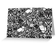 Black and White Sketch Bird Background Greeting Card