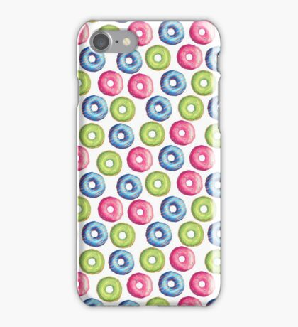 Neon pink green modern trendy sweet donuts pattern iPhone Case/Skin