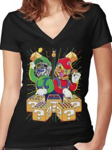 Super Punk Bros Women's Fitted V-Neck T-Shirt