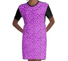 PURPLE MULTI COLORED ABSTRACT DESIGN Graphic T-Shirt Dress